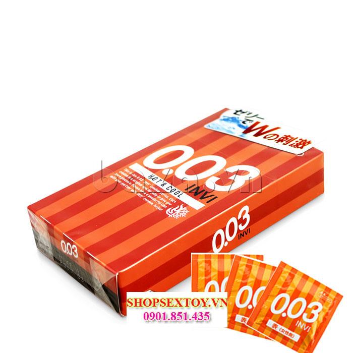 BCS04- Bao cao su siêu mỏng jex INVI 0.03 Hot & Cool